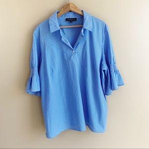 ELOQUII blue pinstripe popover blouse half sleeve smocked Ruffle PLUS size 18